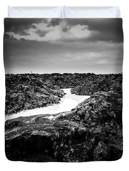 Icelandic Silica Stream In Black And White Duvet Cover