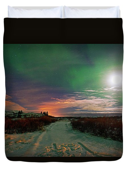 Duvet Cover featuring the photograph Iceland's Landscape At Night by Dubi Roman