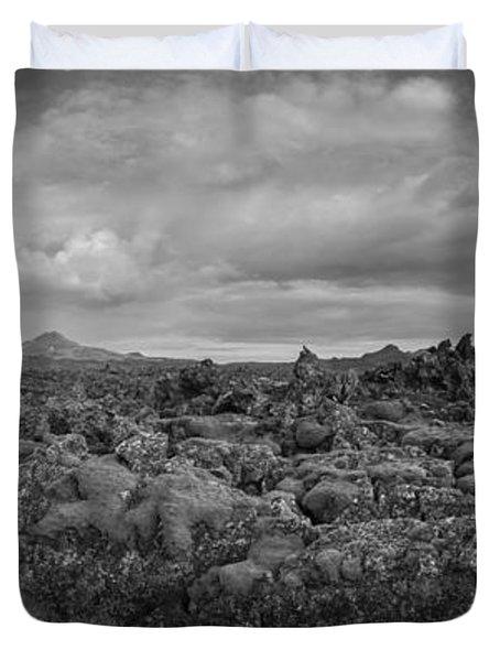 Icelands Mossy Volcanic Rock Bw Duvet Cover