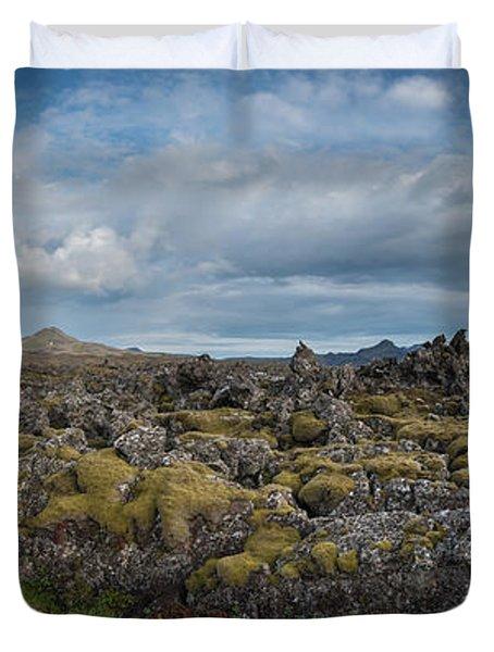 Icelands Mossy Volcanic Rock Duvet Cover