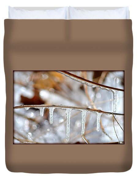 Icicles And Bokeh Duvet Cover by Deb Badt-Covell