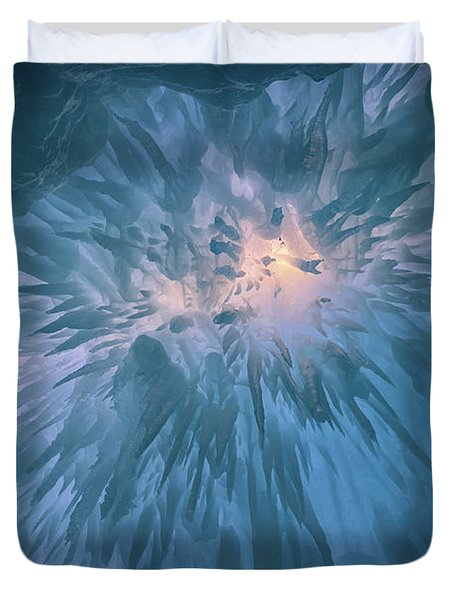 Duvet Cover featuring the photograph Icicles by Rick Berk