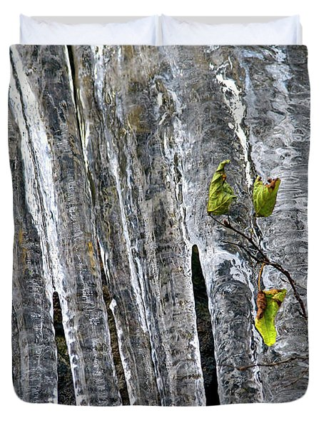 Duvet Cover featuring the photograph Icicles by Sharon Talson
