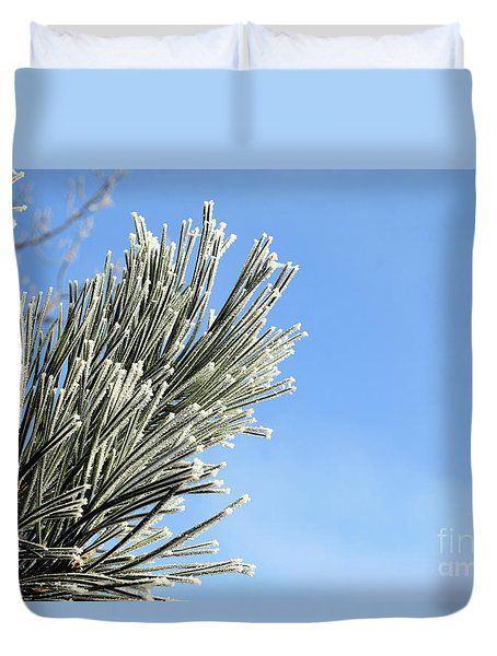 Duvet Cover featuring the photograph Icing On The Needles by Michal Boubin
