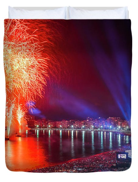 Iconic And Breath-taking Fireworks Display On Copacabana Beach,  Duvet Cover
