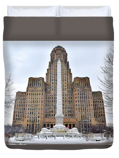 Iconic Buffalo City Hall In Winter Duvet Cover