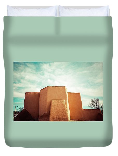 Duvet Cover featuring the photograph Iconic Church In Taos by Marilyn Hunt