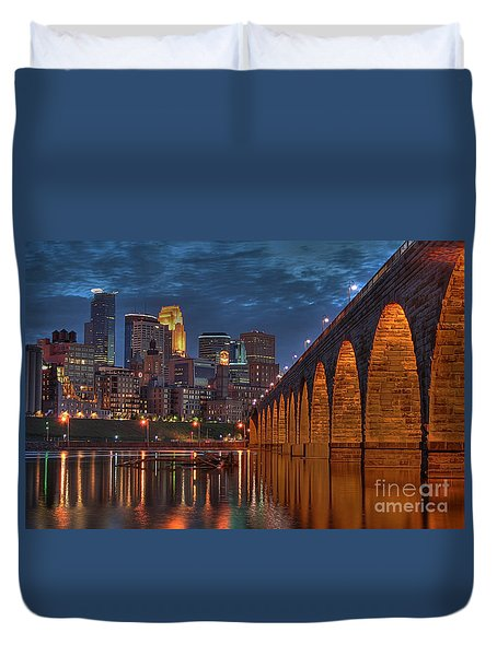 Iconic Minneapolis Stone Arch Bridge Duvet Cover