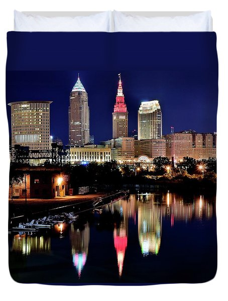 Iconic Night View Of Cleveland Duvet Cover
