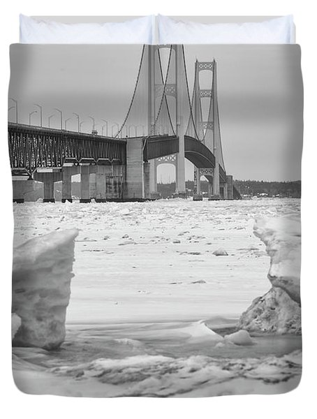 Duvet Cover featuring the photograph Icy Black And White Mackinac Bridge  by John McGraw