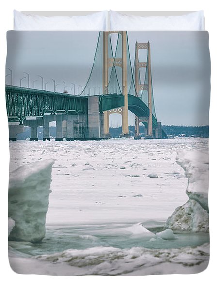 Duvet Cover featuring the photograph Icy Day Mackinac Bridge  by John McGraw