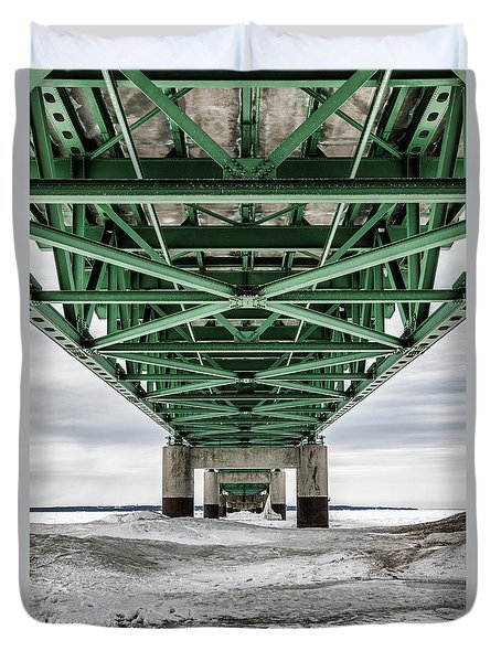 Duvet Cover featuring the photograph Icy Mackinac Bridge In Winter by John McGraw