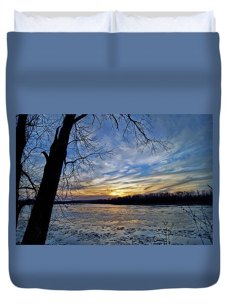 Duvet Cover featuring the photograph Icy River by Cricket Hackmann