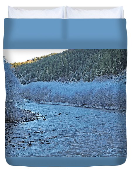 Duvet Cover featuring the photograph Icy River by Jack Moskovita