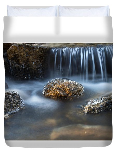 Icy Rocks On The Coxing Kill #1 Duvet Cover by Jeff Severson