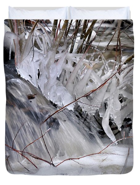 Duvet Cover featuring the photograph Icy Spring by Ron Cline