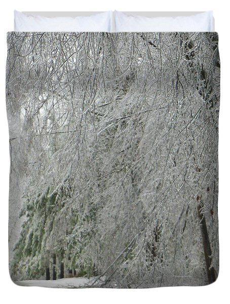 Icy Street Trees Duvet Cover