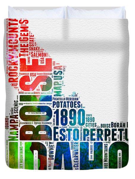 Idaho Watercolor Word Cloud  Duvet Cover