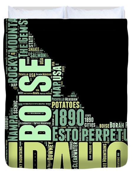 Idaho Word Cloud 1 Duvet Cover
