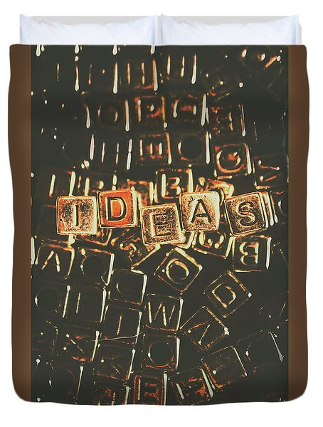 Ideas Letterpress Typography Duvet Cover