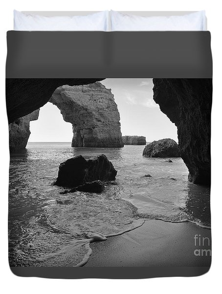 Idyllic Cave In Monochrome Duvet Cover