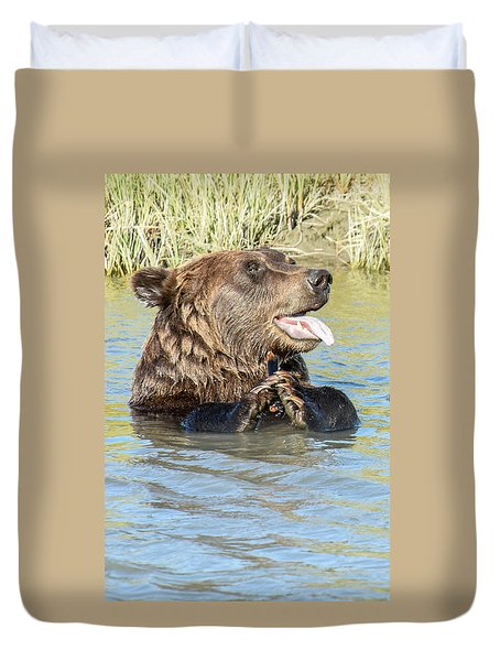 If A Bear Pants In The Woods ... Duvet Cover by Don Mennig