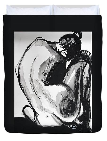 Duvet Cover featuring the painting If You Leave Me Now by Jarko Aka Lui Grande