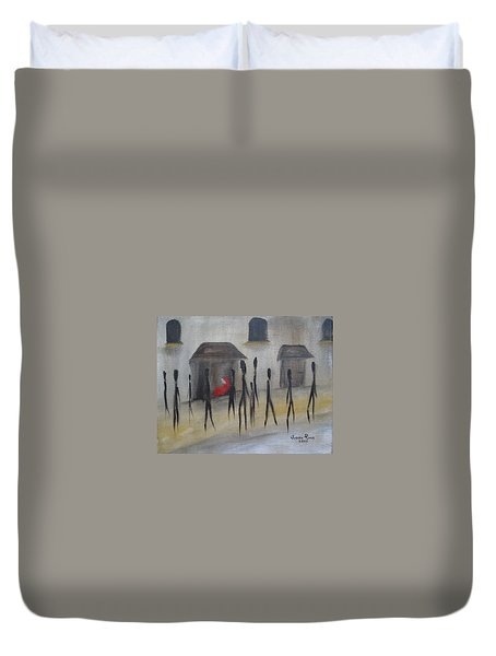 Duvet Cover featuring the painting Ignoring The Homeless by Judith Rhue
