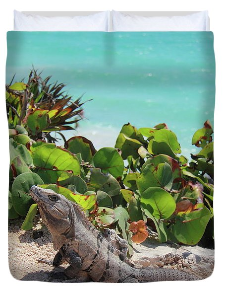 Duvet Cover featuring the photograph Iguana At Tulum by Roupen  Baker