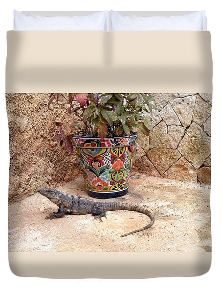 Duvet Cover featuring the photograph Iguana by Dianne Levy