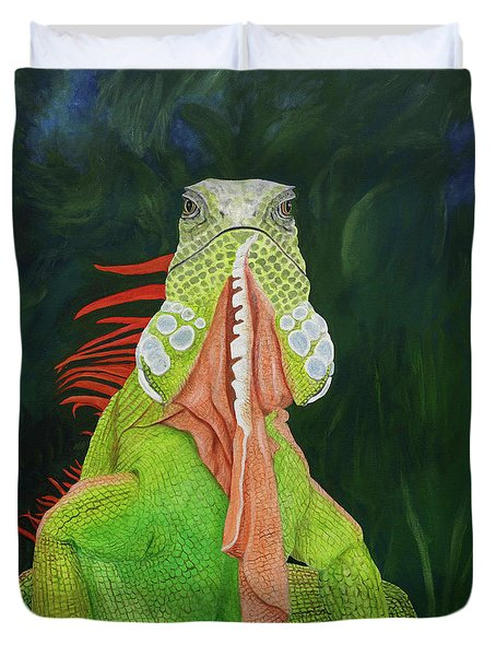 Duvet Cover featuring the painting Iguana Dude by Karen Zuk Rosenblatt
