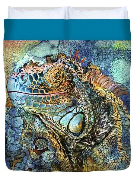 Duvet Cover featuring the mixed media Iguana - Spirit Of Contentment by Carol Cavalaris