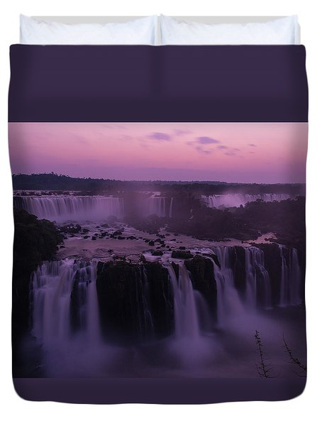 Iguazu Sunset In Violet Duvet Cover