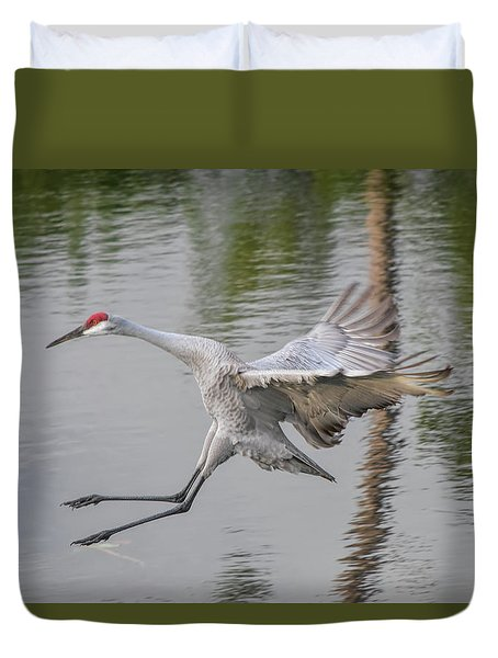 Ike The Crane's Grouchy Day Duvet Cover