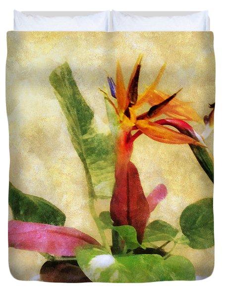 Ikebana Bird Of Paradise Duvet Cover