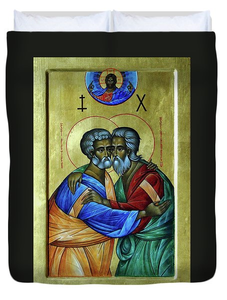 Duvet Cover featuring the photograph Ikon Sts. Peter And Andrew by John Schneider