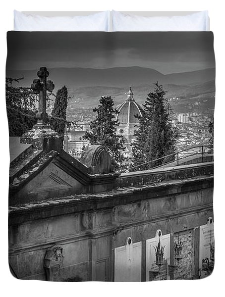 Duvet Cover featuring the photograph Il Cimitero E Il Duomo by Sonny Marcyan