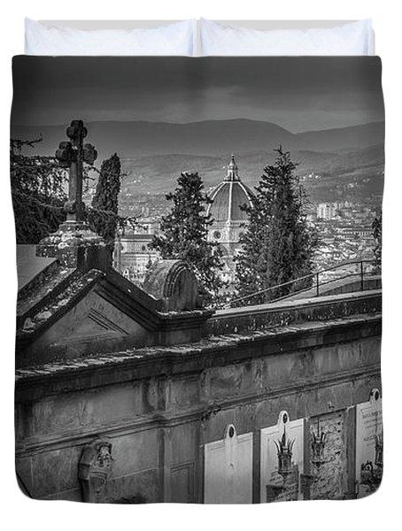 Il Cimitero E Il Duomo Duvet Cover by Sonny Marcyan