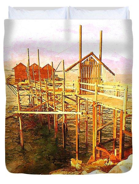 Il Grande Trabucco - Trebuchet Fishing Duvet Cover