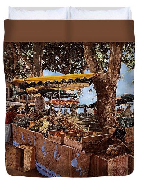 il mercato di St Paul Duvet Cover by Guido Borelli