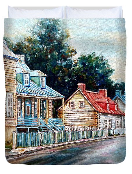 Ile D'orleans Quebec Street Scene Duvet Cover by Carole Spandau