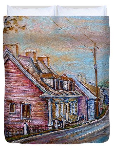 Iles D'orleans Quebec Village Scene Duvet Cover by Carole Spandau