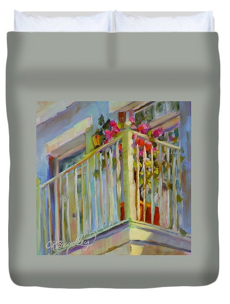Duvet Cover featuring the painting I'll Leave The Porch Light On by Chris Brandley