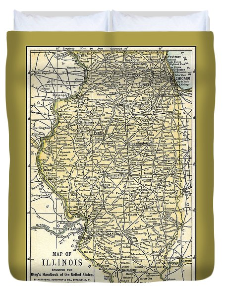 Illinois Antique Map 1891 Duvet Cover