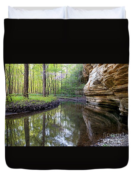 Illinois Canyon In Spring Duvet Cover