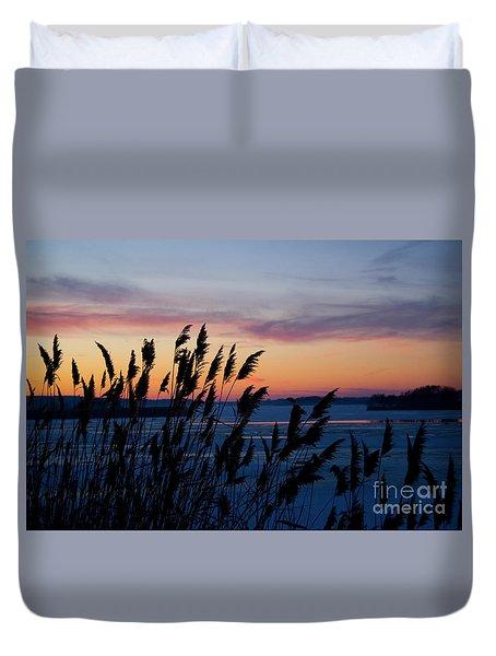 Illinois River Winter Sunset  Duvet Cover