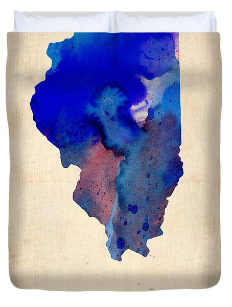 Illinois Watercolor Map Duvet Cover by Naxart Studio