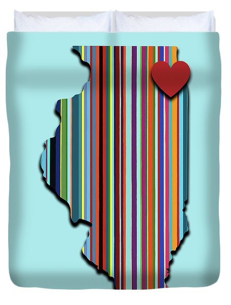 Duvet Cover featuring the mixed media Illinois With Love Geometric Map by Carla Bank