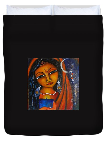 Duvet Cover featuring the painting Illuminate by Prerna Poojara