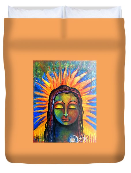 Duvet Cover featuring the mixed media Illuminated By Her Own Radiant Self by Prerna Poojara